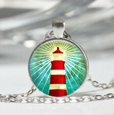 Lighthouse photo Tibet silver Dome Glass Cabochon Necklace chain Pendant #290