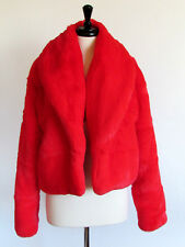 DESIGNER KENDAL/KYLIE LIMITED EDITION HIGH RISK RED SHAWL COLLAR FAUX FUR LARGE