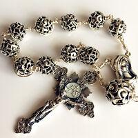 Bali Sterling Silver Beads Cross Handmade Wire Wrap one decade rosary bracelet