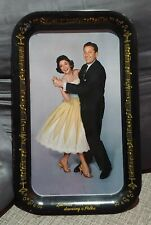 VINTAGE LAWRENCE WELK DANCING POLKA METAL CANDY TRAY SIGN 50s OLD TV SHOW MUSIC