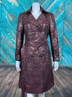 W by Worth Women's Coat P US Small 2 Burgundy Floral Metallic Button Front Belt