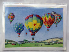 Nostalgic Up Up And Away Hot AIr Balloon Design Happy Birthday Card