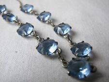 Vintage Deco Open Back Faceted Blue Glass Riviere Necklace Delicate