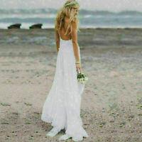 Women Summer Backless Long White Evening Cocktail Party Beach Dresses Sundress