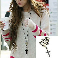 Stylish Mens Women Cross Pendant Black Rosary Beads Necklace Chain Fashion