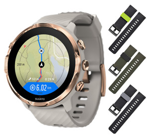 SUUNTO 7 GPS Smartwatch Sandstone/Rose Gold 3x Blk/Lime Khaki/Blk Blk/Gray Strap