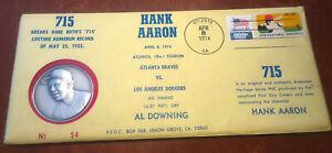 HANK AARON 715 HOME RUN COMMEMORATIVE COIN 2.19 OZ .999 SILVER ORIGINAL ENVELOPE