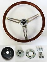 "64-65 Chevelle El Camino High Gloss Wood Steering Wheel 15"" SS Center cap"