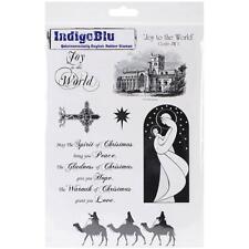 New Cling IndigoBlu RUBBER STAMP Set CHRISTMAS JOY TO THE WORLD  free usa ship