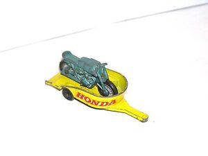 Vintage Matchbox Lesney #38 Honda Motorcycle & Trailer **YELLOW LIGHT SPECIAL**