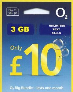 O2 02 NANO SIM CARD £10 BIGBUNDLE 3 GB NET FOR SAMSUNG GALAXY & SMARTPHONE