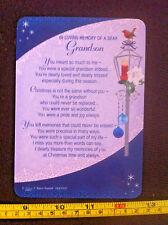 In Loving Memory Of A Dear Grandson Christmas Poem Plastic Gift Card New