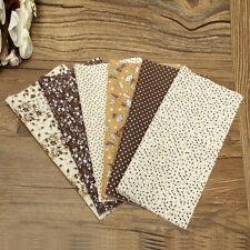 #US 6Pcs Coffee DIY Pre-Cut Quarters Bundle Cotton Quilt Fabric Patchwork Craft