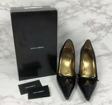Authentic Dolce & Gabbana Black Leather & Suede High Heel Pumps With Box Size 11