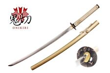 RARE Onikiri Full Tang Japanese Nobunaga Katana Sword with Golden Scabbard NIB