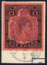 Bermuda 1938 SG121c £1 Purple and Black P 14 5th Printing Superb Used.