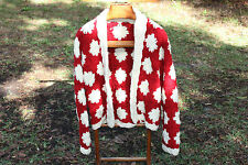 Granny Squares Ugly Christmas Cardigan Hand Knit sweater M/L to XL extra large