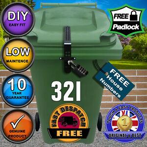 Wheelie Bin Lid Lock + Free Numbers + KEYLESS Padlock - Complete Kit for one bin