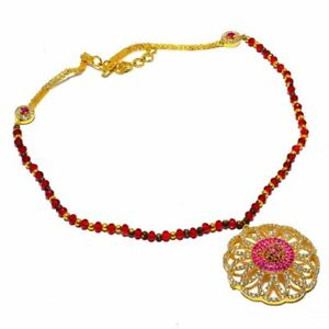 Ruby Garnet White Topaz  Gold Overlay Silver Jewelry N-100 Necklace 18""