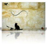 Wall26 - Canvas Print Wall Art - Cat and Mouse - Street Art - Guerilla - 24 x 36
