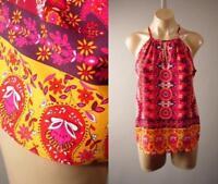 Colorful Paisley Mandala Moroccan 60s Scarf Pattern Cami Top 270 mv Blouse S M L