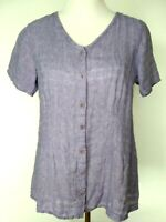 Flax Womens Blue White Linen Button Up Short Sleeve Blouse Top Size Petite 4-6