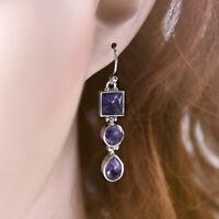 New Women 925 Silver Amethyst Square Round Pear Drop Dangle Hook Earrings Gift
