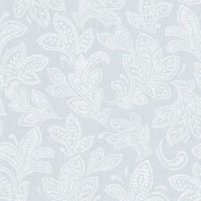 CROWN CALICO WHITE DUCK EGG TEXTURED LEAF FEATURE DESIGNER WALLPAPER M1151