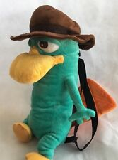 "Disney Phineas & Ferb Perry The Platypus Plush Backpack Soft Toy Bag 15"" EUC"