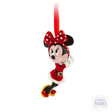 Disney Parks Minnie Mouse Santa Flocked Retro Ornament Christmas