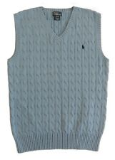 Youth Boy Polo Ralph Lauren Pony V Neck Pullover CableKnit Sweater Vest XL 18-20
