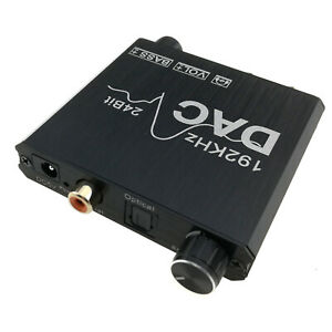 Optical Toslink Coaxial Audio to Analog RCA Stereo 3.5mm Converter Bass Volume