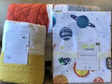 Pottery Barn Kids Twin Connor Patchwork Quilt Sham & Solar System Sheet Set- New