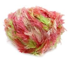 Crystal Palace Splash #9520 Tulips Pinks Green White Feather Boa Lash Yarn 100gr