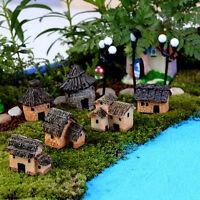 1/6pc Mini Thatched House Miniature Fairy Landscape Craft Micro Garden DIY TFSU