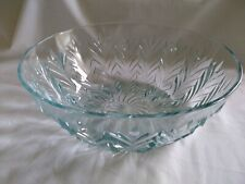 "Vintage Light Blue 10.5"" x 4"" Clear Glass Serving Bowl Tulip Pattern"