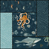 WHALE TALES Windham Cotton Quilt Fabric Seahorses, Octopi, Scales, Waves, Navy