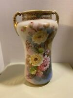 "Antique Large Hand Painted NIPPON Porcelain Vase W/ Beautiful Flowers 12"" 4 Lbs"