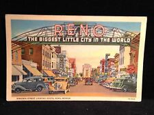 Antique POSTCARD RENO, NV., The Biggest Little City In The World, c1940s Cars