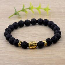 Natural Lava Stone Beads Bracelets Gold Plated Buddha Beads Diffuser Bracelets