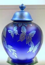 FENTON Ginger Jar wCustom Pntd Lid FAVRENE Butterflies FAGCA EXCLUSIVE FREEusaSH