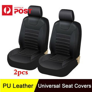 2Pcs Black Soft PU Leather Car Front Seat Covers Cushion Auto Seat Protector Mat