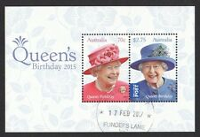 AUSTRALIA 2015 QUEEN'S BIRTHDAY SOUVENIR SHEET OF 2 STAMPS FINE USED CONDITION