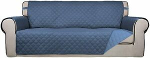 PureFit Reversible Quilted Slipcover Couch Cover Kids, Dogs, Pets(Sofa, Blue)
