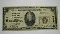 $20 1929 Okawville Illinois IL National Currency Bank Note Bill Ch. #11780 FINE