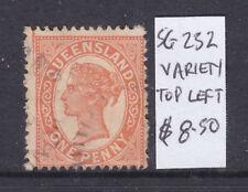 Qld: 1d Orange Vermilion Qv Sg 232 Fine Used With Variety Top Left Corner.