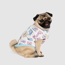 New listing New Dog Puppy Follow Me Retro Cassette Print White Cotton Tee T-Shirt