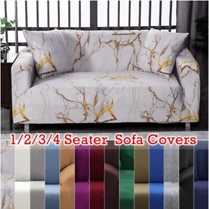 1/2/3/4 Seater Stretch Sofa Covers for Living Room 14 Solid Colors Available