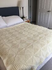 Unusual Vintage Heavy Cream Throw With Lattice Rope Fringing Home, Furniture & Diy