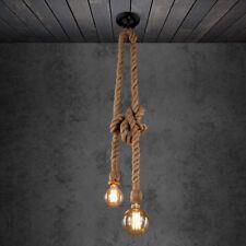 E27 Lámpara Colgante Industrial Doble Cabeza Cuerda Retro Vintage Edison Luz de